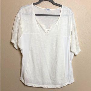 Splendid Cream Short Sleeve Shirt Sz:XS